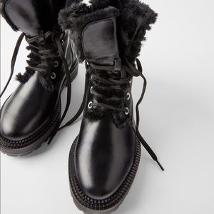 ZARA LEATHER MOTO BOOTS WITH FUR LINING